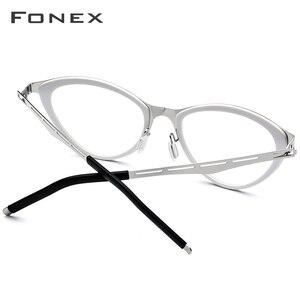 Image 4 - FONEX asetat gözlük çerçeve kadınlar kedi göz reçete gözlük miyopi optik çerçeve Cateye gözlük vidasız gözlük 618