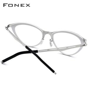 Image 4 - Fonex acetato óculos quadro feminino cat eye prescrição óculos miopia quadro óptico cateye óculos screwless 618