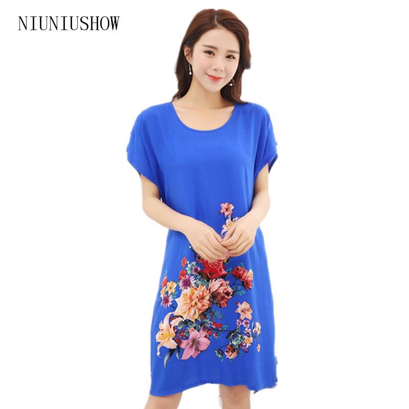 One Size Summer New Female Cotton Sleepwear Nightdress Chinese Womens Cotton Robe Bath Gown Print Flower Sleepshirts TB002