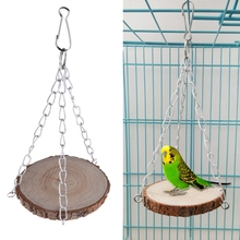 Parrot Perch Wood Hanging Cage Stand Platform Bird Hamster Round Toys Rack Bite