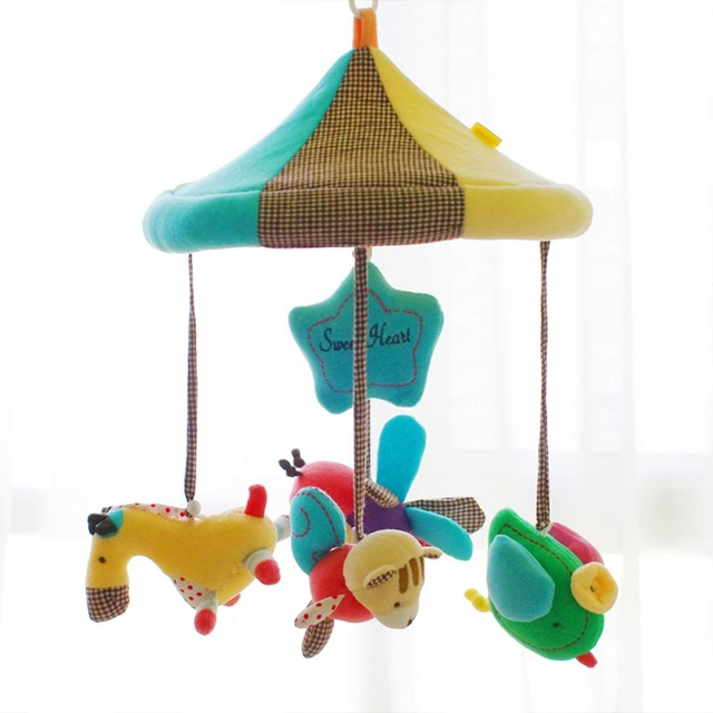 SHILOH New Hot Bed Bell Car Stroller Musical Mobile Baby Crib Rotating Doll Infant Kid Music Box Plush Doll 60 Songs Carousel