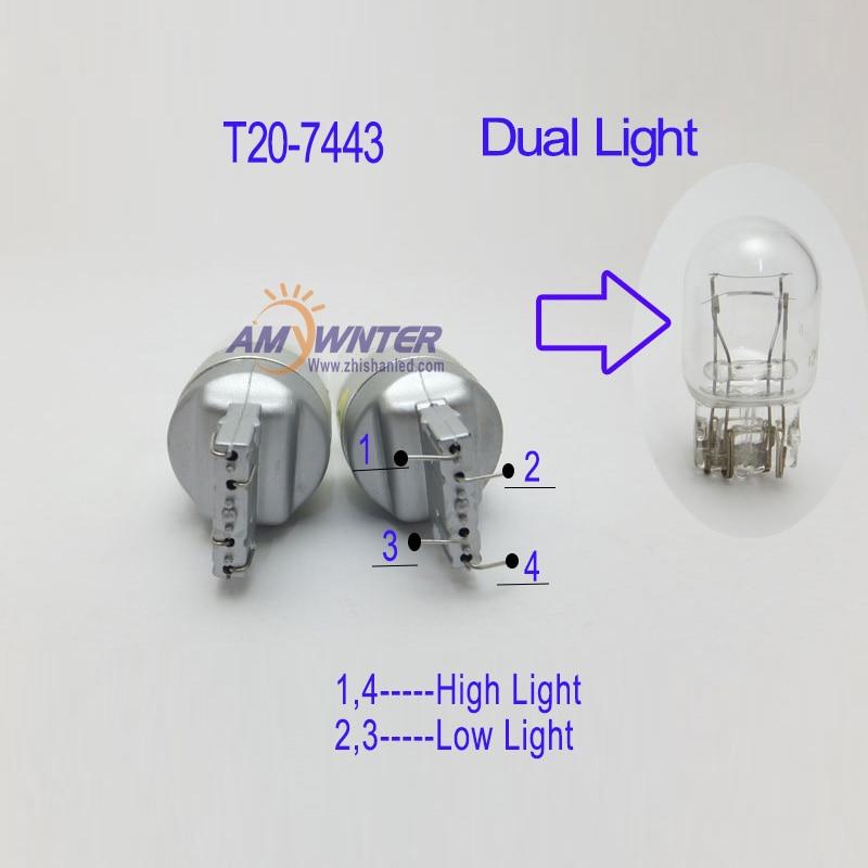 AMYWNTER 7440 7444 Առաջնորդված մեքենայի լամպ - Ավտոմեքենայի լույսեր - Լուսանկար 4