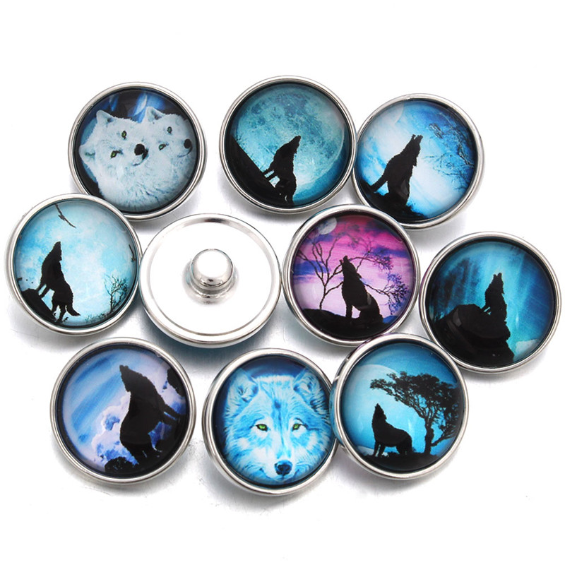 10pcs/lot Wolf Moon Glass Cabochon Snap Button Fit 18mm Bracelet Jewelry Earrings For Women ZB383 image