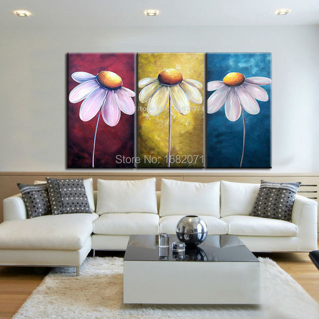 Skills artist hand painted three colors modern flower canvas painting for wall decorative hand