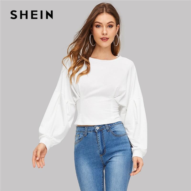 SHEIN White Batwing Sleeve Crop Plain Sweatshirt Round Neck Long Sleeve Stretchy Women Autumn Casual Minimalist Sweatshirts