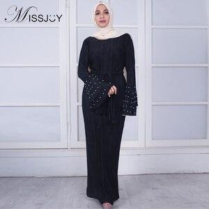 Женское плиссированное платье MISSJOY, повседневное турецкое Платье макси с расклешенным рукавом, с жемчугом, в мусульманском стиле