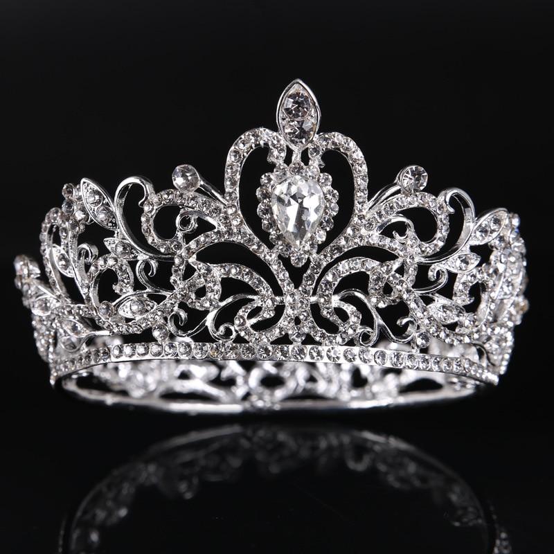 Diameter 9.5 cm Silver Crystal Round Small Crown Wedding Hair Accessories Luxury Rhinestone Princess Crowns Bridal Tiara GL-219