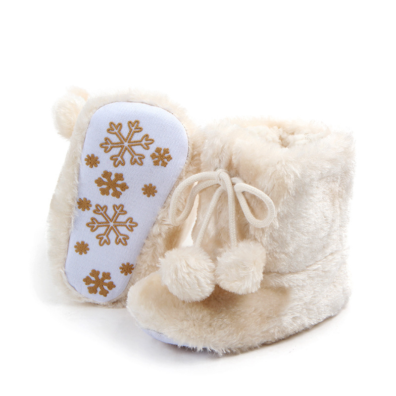 Fashion Baby Boots Plush Toddler Baby Winter Shoes For Kids Snow Boots Unisex Non-slip Pompom Infant Boots For Girls Boys Boots