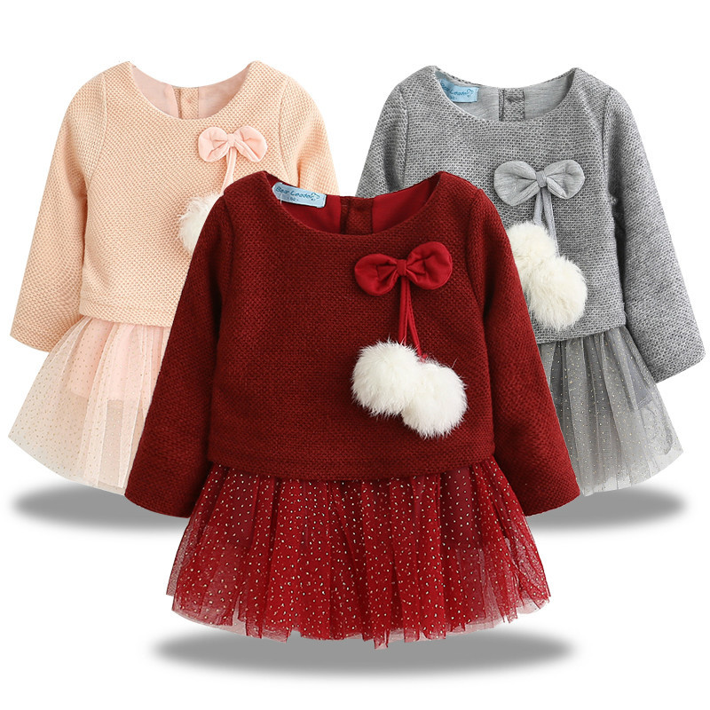 Autumn Winter Baby girls clothes long sleeve princess girls dress Ball of yarn Kids Clothes Children Party princess dresses 40(China)