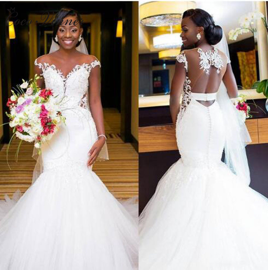Sexy Illusion Back Africa Mermaid Wedding Dresses 2020 Pure White Cap Sleeve Embroidery Beading Lace Bride Wedding Dress W0360