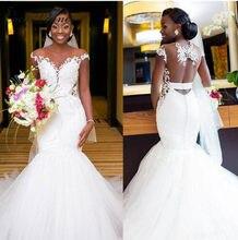 Sexy ilusión volver África sirena vestidos de novia blanco puro manga bordado encaje con cuentas de la boda Vestido de novia de W0360