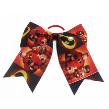 7 Inch Superman mobilization cartoon Hair Bows  cheer bows With Elastic Bands Kids Girls The Incredibles Accessories