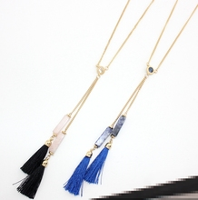 2016 new crystal Powder blue natural stone sweater chain long necklaces black rope double tassel necklaces women