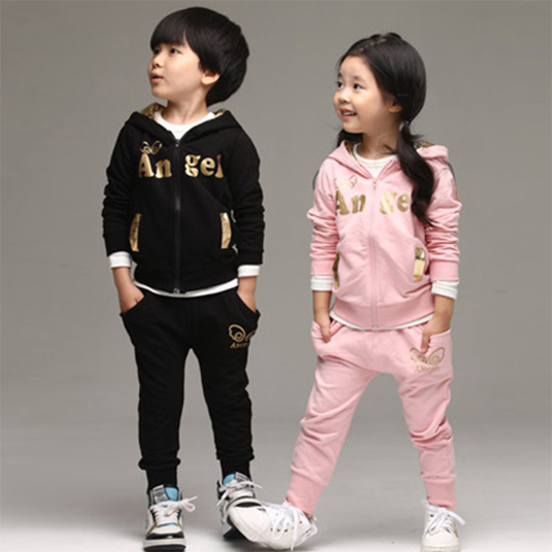 2018 spring hot sale boys girls track suit kids clothing children clothes angel wings kids girl clothing set t shit+pants cotton summer kids clothes suit for girls 3 13 years children army green cotton shirt clothing set boys girls clothing sport suit 174b