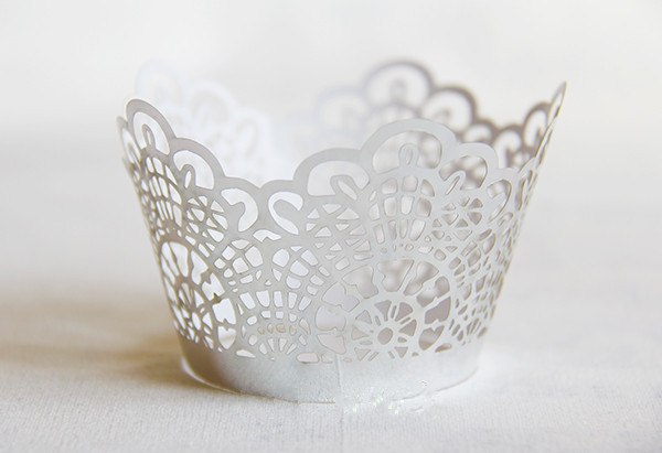 Free Shipping Sliver Cut Hollow Lace Wedding Cupcake