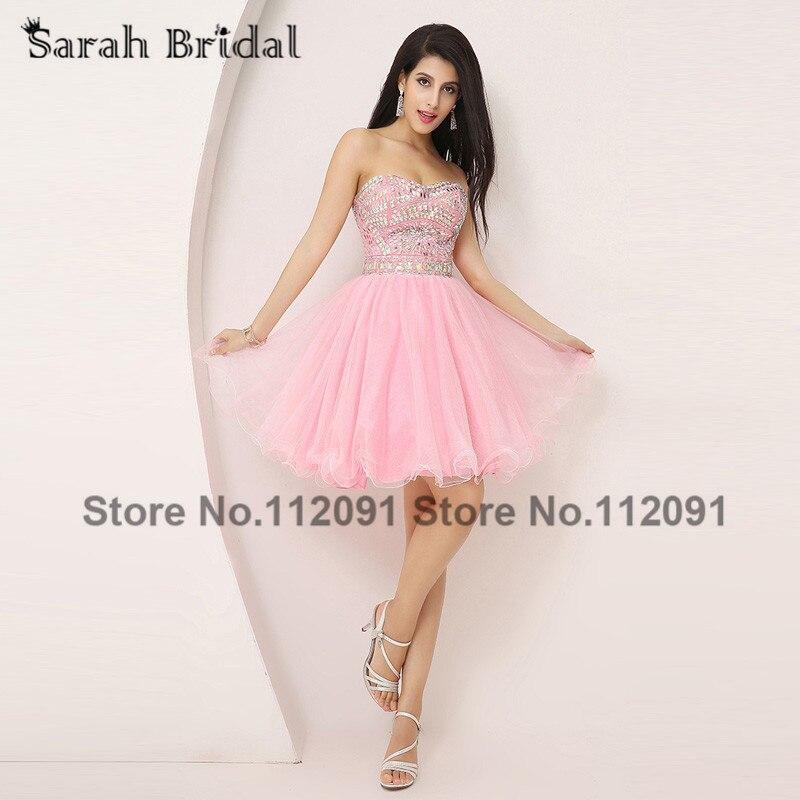 ̿̿̿(•̪ )Lujo Crystal mini Vestidos de fiesta gasa Rosa 2017 Venta ...
