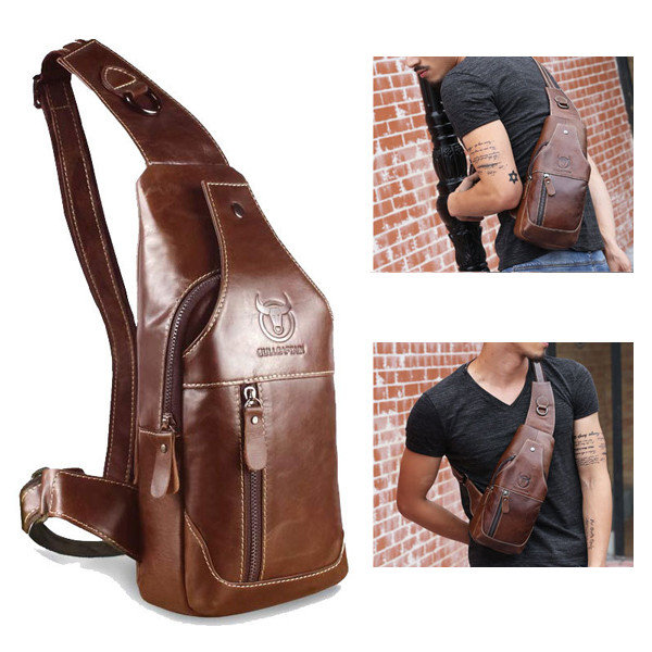 Men Brown Black Casual Business Genuine Cow Leather Shoulder Bag Chest Bag Mens Vintage Crossbody Bag Chest Pack bolsas male genuine leather men shoulder bags brown black business messenger bag vintage multifunction casual travel crossbody pack rucksack