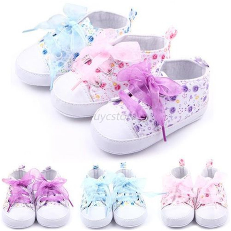 Newborn Toddler Girl Baby Crib Shoes Soft Sole Anti-slip Floral Walk Sneaker 0-12 Months SH85
