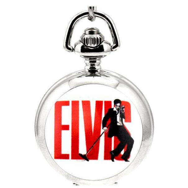 Fashion Love Elvis Presley Pocket Watch Necklace Woman Watches Girl Lady Child Antibrittle The King Of Rock N Roll Silver PKU53