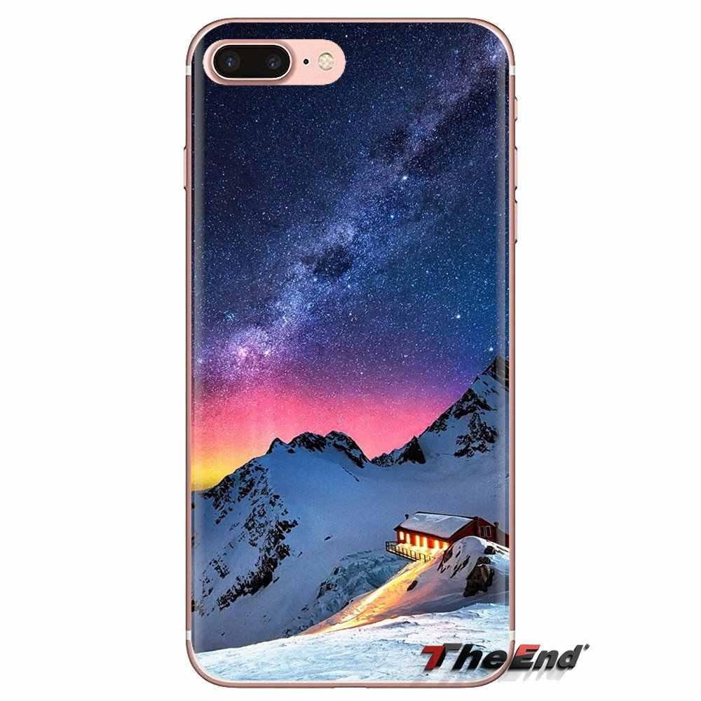 Custodia Borsa morbida Per LG G3 G4 Mini G5 G6 G7 Q6 Q7 Q8 Q9 V10 V20 V30 X Alimentazione 2 3 K10 K4 K8 2017 Montagna di Neve Aurora Stelle della Via Lattea
