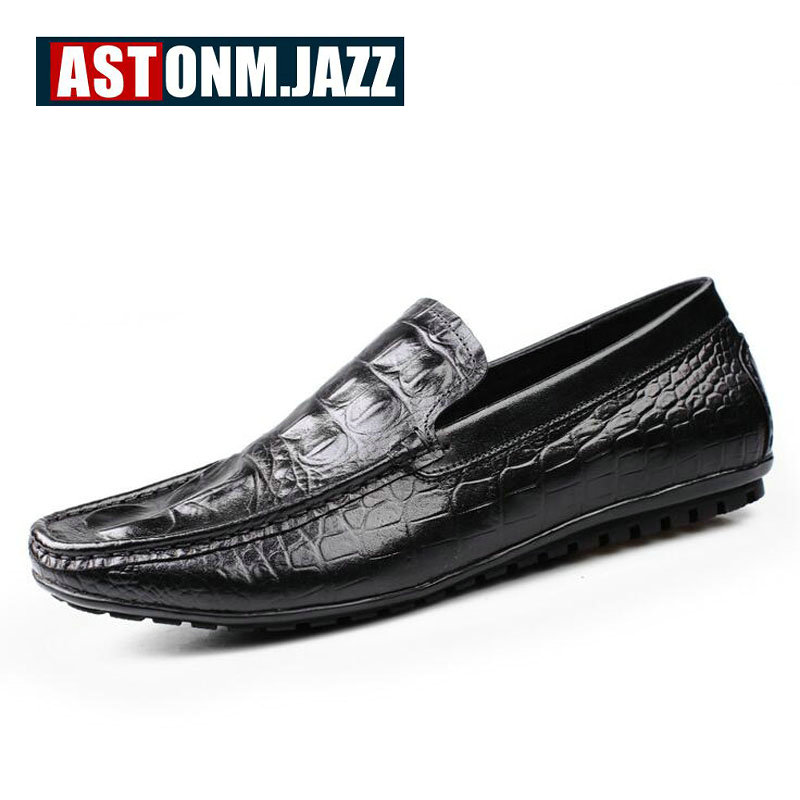 Mens Casual Genuine Leather With Crocodile Skin Mens Slip-on The Penny Loafers Men Velvet Dress Shoes Mens Fashion Moccasins