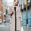 INU074 Nova Chegada 2016 Outono e Inverno collar entalhado único breasted listrado vertical clássico mulheres casaco de lã longo