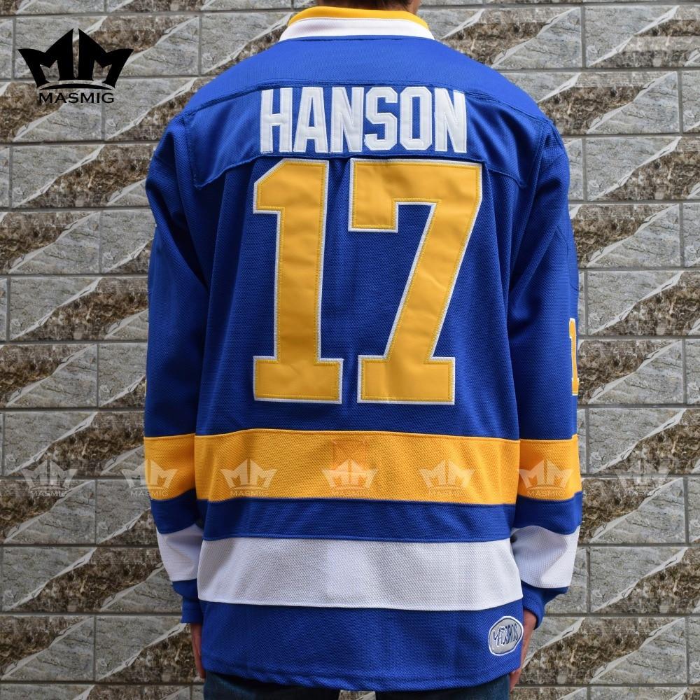 Мм masmig воротам Стив Хэнсон 17 Charlestown РУКОВОДСТВО Хоккей Джерси синий Размеры S M L XL XXL, XXXL для Бесплатная доставка