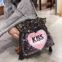 Famous Brand Europe Fashion Tassel Women Bag Heart Sequined Chain Shoulder Handbag Ladies Messenger bag Casual Tote 886