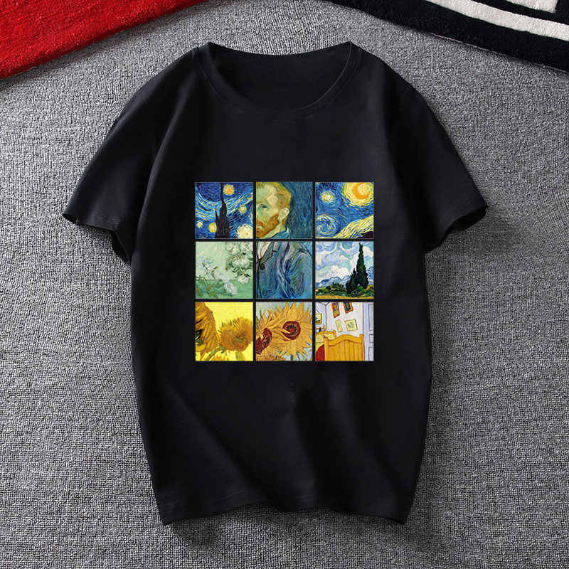 Summer Woman T-shirt Van Gogh Art Vintage Graphic Print Tee Shirt Femme Harajuku Fashion Aesthetic Van Gogh Vogue T Shirt Tumblr