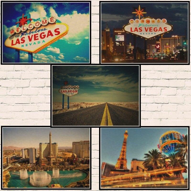 Las Vegas Vintage Travel Poster Classic Retro Kraft Decorative Maps Wall Sticker Home Bar Posters DIY Decor Gift