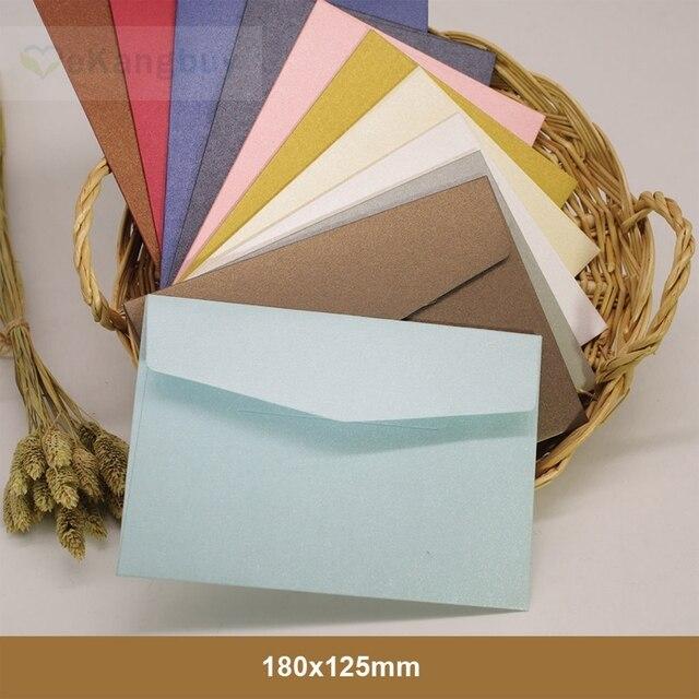 "25pcs 180x125mm(7"" x 4.8"") Color Iridescent Paper Envelope 250gsm Thick Wedding Business Invitation Envelopes"
