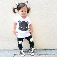 Boys and Girls Clothing Sets Kids Short Sleeve Cartoon Cat Shirt Pant Suit Children Set ropa de ninas