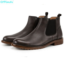 купить QYFCIOUFU NEW Spring Autumn Men Chelsea Boots High Quality Genuine Leather Ankle Boots Outdoor Slip-On Male Martins boots Shoes дешево