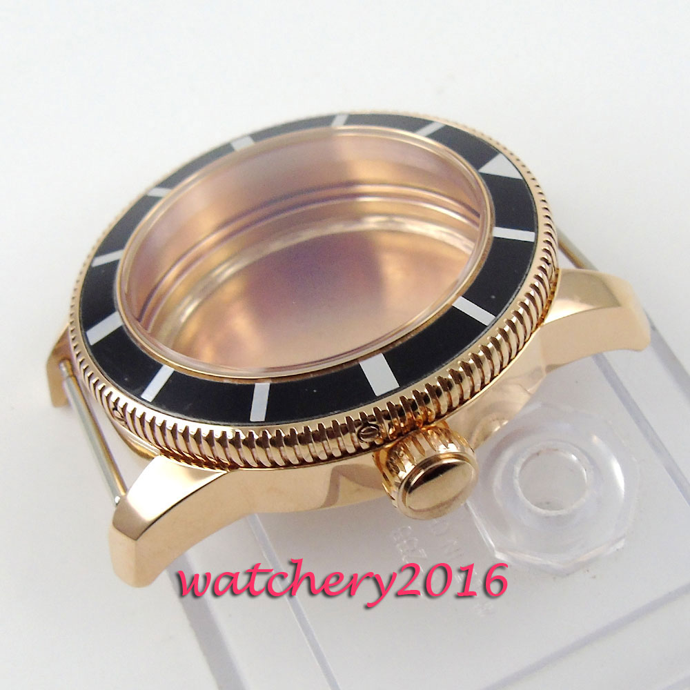 все цены на 46mm parnis Luxury Rotating alloy bezel golden plated Watch Case fit ETA 2824 2836 MOVEMENT онлайн