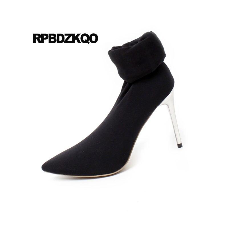 Talon Cher Femmes Chaussette Haute Pas Black Cuisse 5cm Chaussures Extrême Danse Noir Pointu Sur Taille Métal 10cm Stiletto Bout En Fétiche black Le Grande Genou Sexy Bottes De 7 vz0Eq