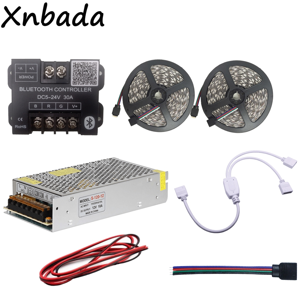 SMD5050 RGB Led Strip 60Led/m Led Flexible Light Tape+Bluetooth Led Controller+12V 10A Led Power Supply Adapter Kit 10M led strip light 5050 rgb waterproof 30led m diode flexible tape 4m 8m 12m 16m smart wifi led controller power supply