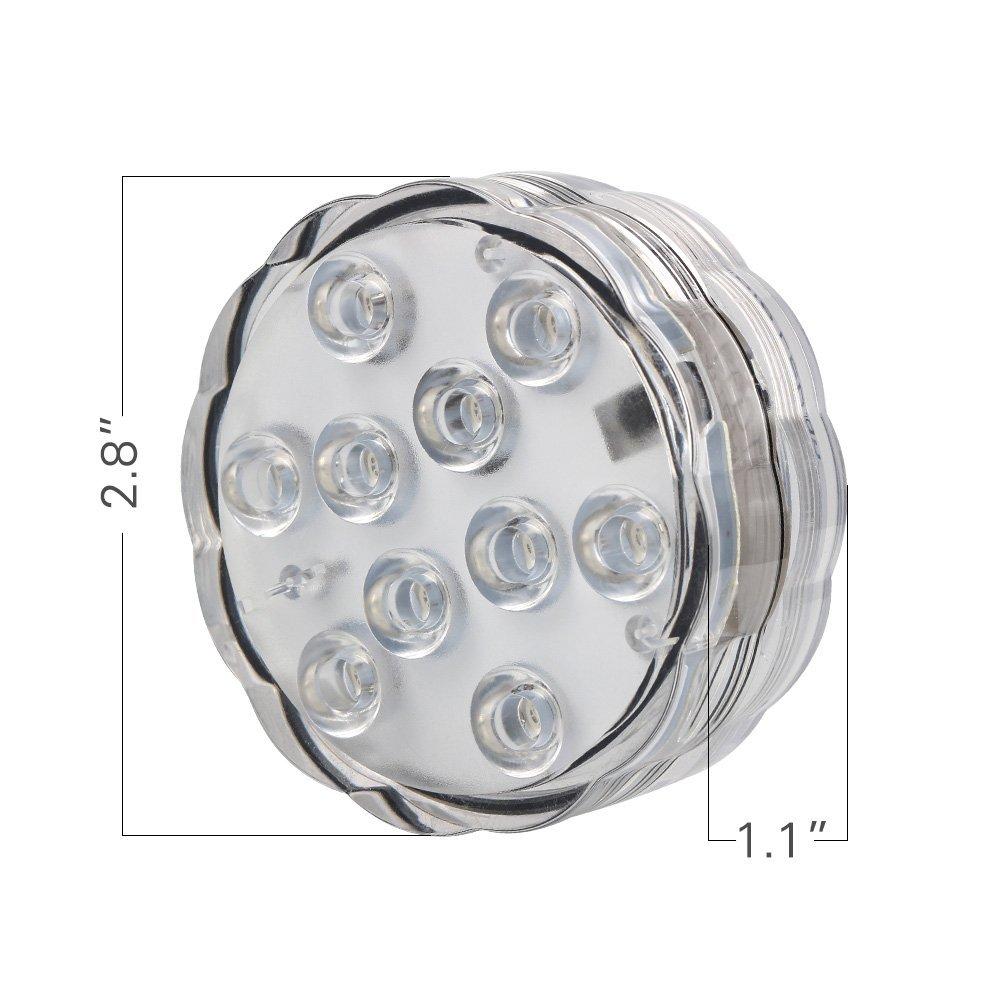 4Pcs * Lampau tanddwr 2.8inch LED golau ar gyfer parti priodas Canolbwynt Batri dan Reolaeth Anghysbell Powlenni i fyny goleuadau