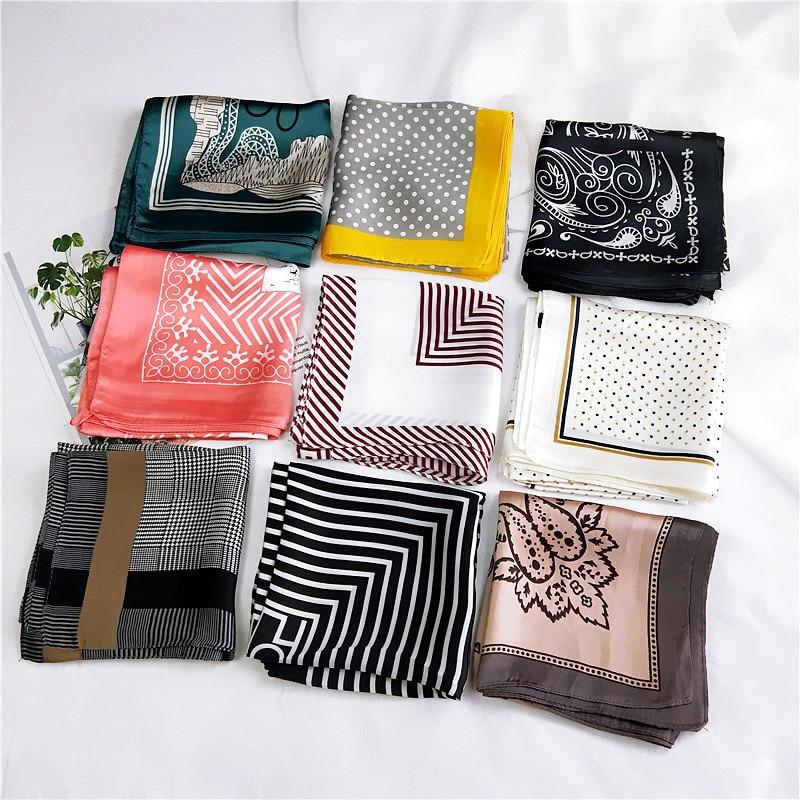 60*60cm Square Silk Hair Tie Band Scarf New Elegant Women Head Skinny Hair Tie Band Small Handkerchief Bandana Scarf