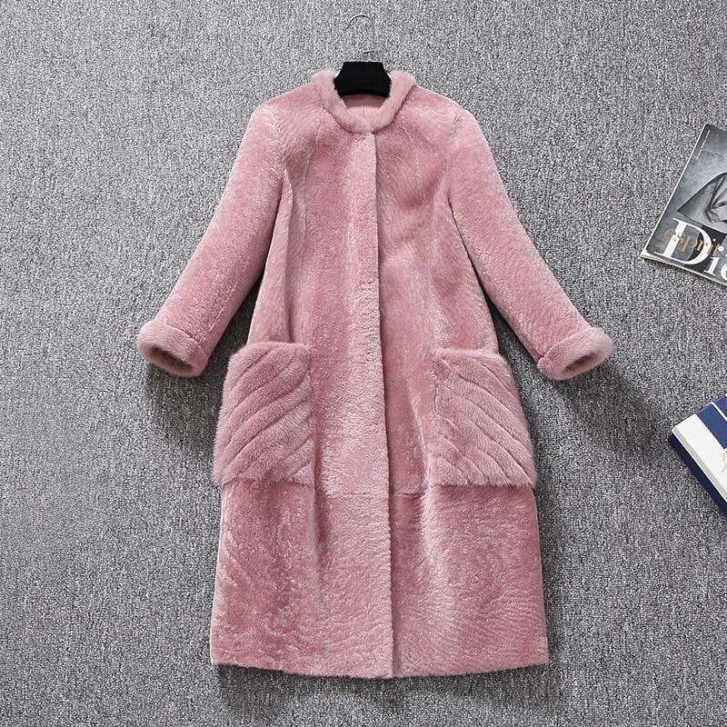 Femmes Cuir Veste Vestes Réversible Naturelle De Rose D'hiver Avec Manteau Un Fourrure Vison La Pink Femme Manteaux En Mouton PwOXuTZik