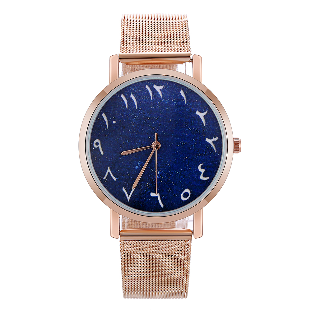 High Quality Fashion Casual Women Watch Arabic Numbers Steel Mesh Quartz Watches Rose Gold Ladies Watch Montre Femme