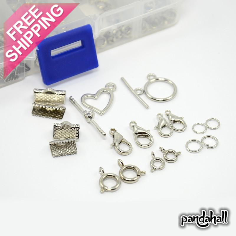 Jewelry findings and components Alloy and brass Clasp Jump Rings 1 Box Mixed Jewelry Findings For DIY Jewelry bracelet marking