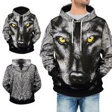 Black Men Casual Style Polyester 3D Printed Long Sleeve Pullover Hood Sweatshirt Cotton Shirt(China)