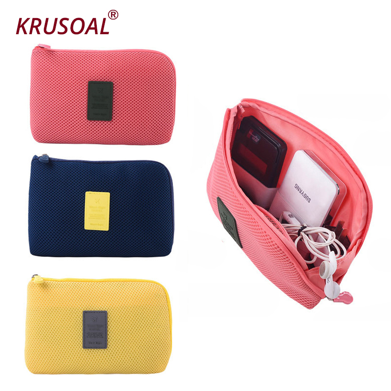 Storage-Box Bag-Holder Charger Headphone Data-Cable Mesh Cosmetic Travel Digital