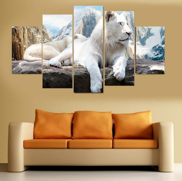ᑐ5 Pcs Unframed White Lion Animal Oil Painting On Canvas Wall Art