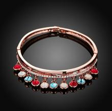 2016 new fashion luxury women s spring summer rose gold plated rhinestone charm bracelate bangle statement