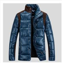 2014 Men warm winter leather jacket male plus size cotton padded clothes outwear jaquetas masculinas inverno