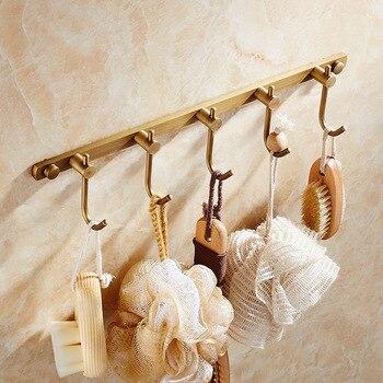 Античный латунный ряд 5 крючок для одежды настенный банное полотенце вешалка для пальто Percheros Decorativos сравнению аксессуары для ванной комнат...
