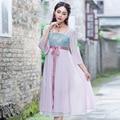 La Cultura Tradicional China de Las Mujeres Ropa de Verano Nueva Primavera Elegante Cintura Alta de Tres Cuartos de la Manga Gasa Vestido Largo