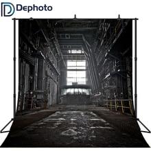 DePhoto Vintage Photo Studio Backgrounds Black Factory Windows Mechanical for Young Sport Photographic Camera Backdrop Vinyl