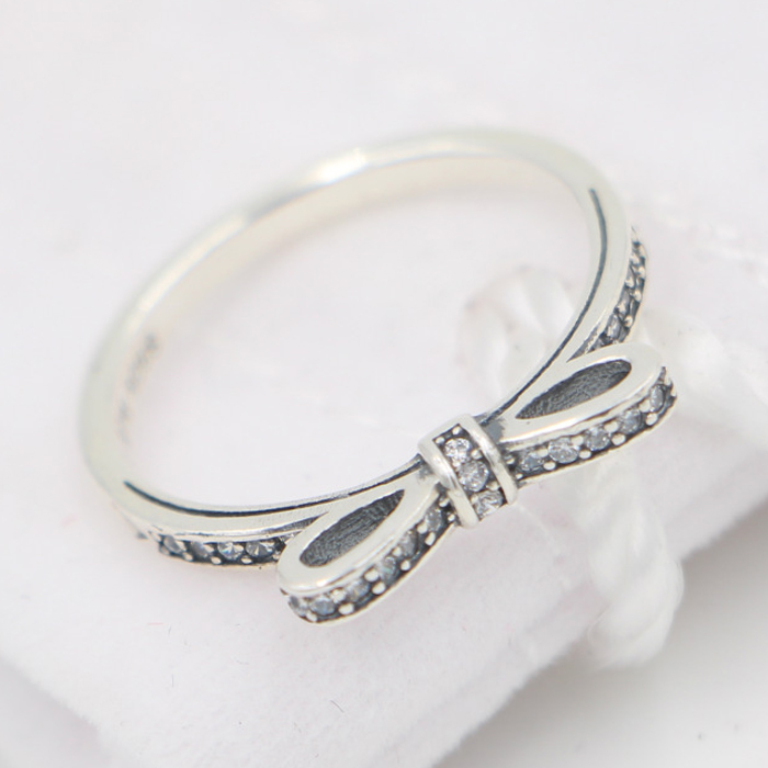 ee3d35824 ... Compatible with Pandora Style Sparkling Bow Rings with Clear CZ New  Authentic 925 Sterling Silver DIY ...
